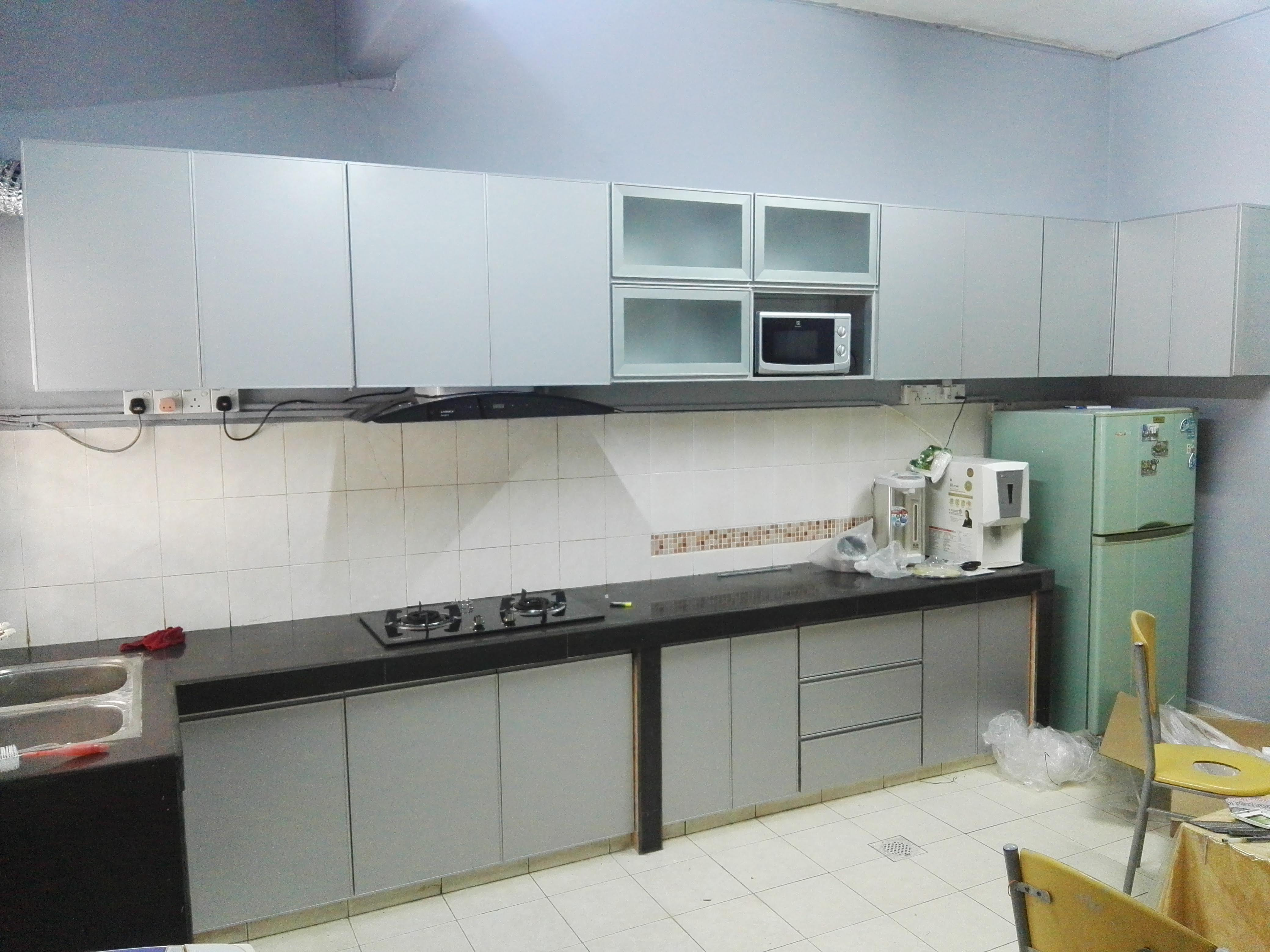 Kitchen Cabinet White And Silver Autogate Supplier Anyu Cnc Sdn Bhd